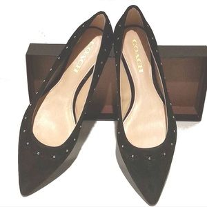 Coach Joane Lux Suede Flats